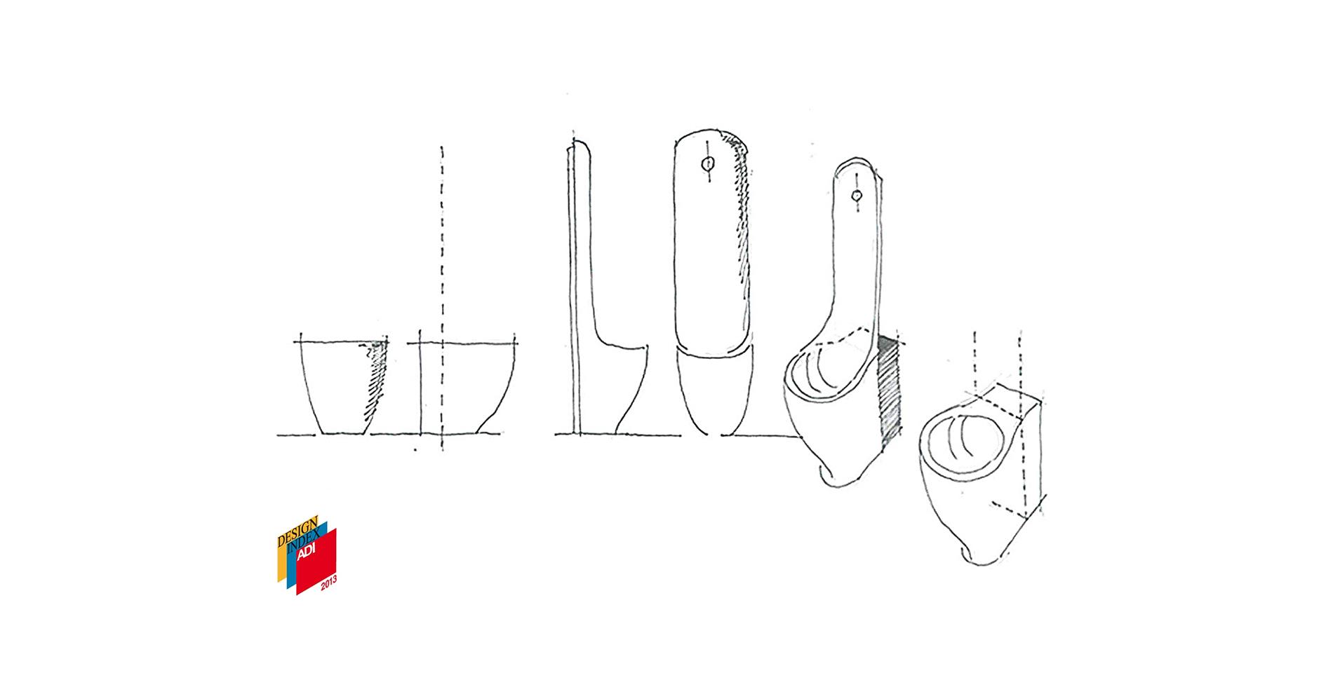 Sketch Ergo ceramic urinal - Antonio Pascale Design for Galassia