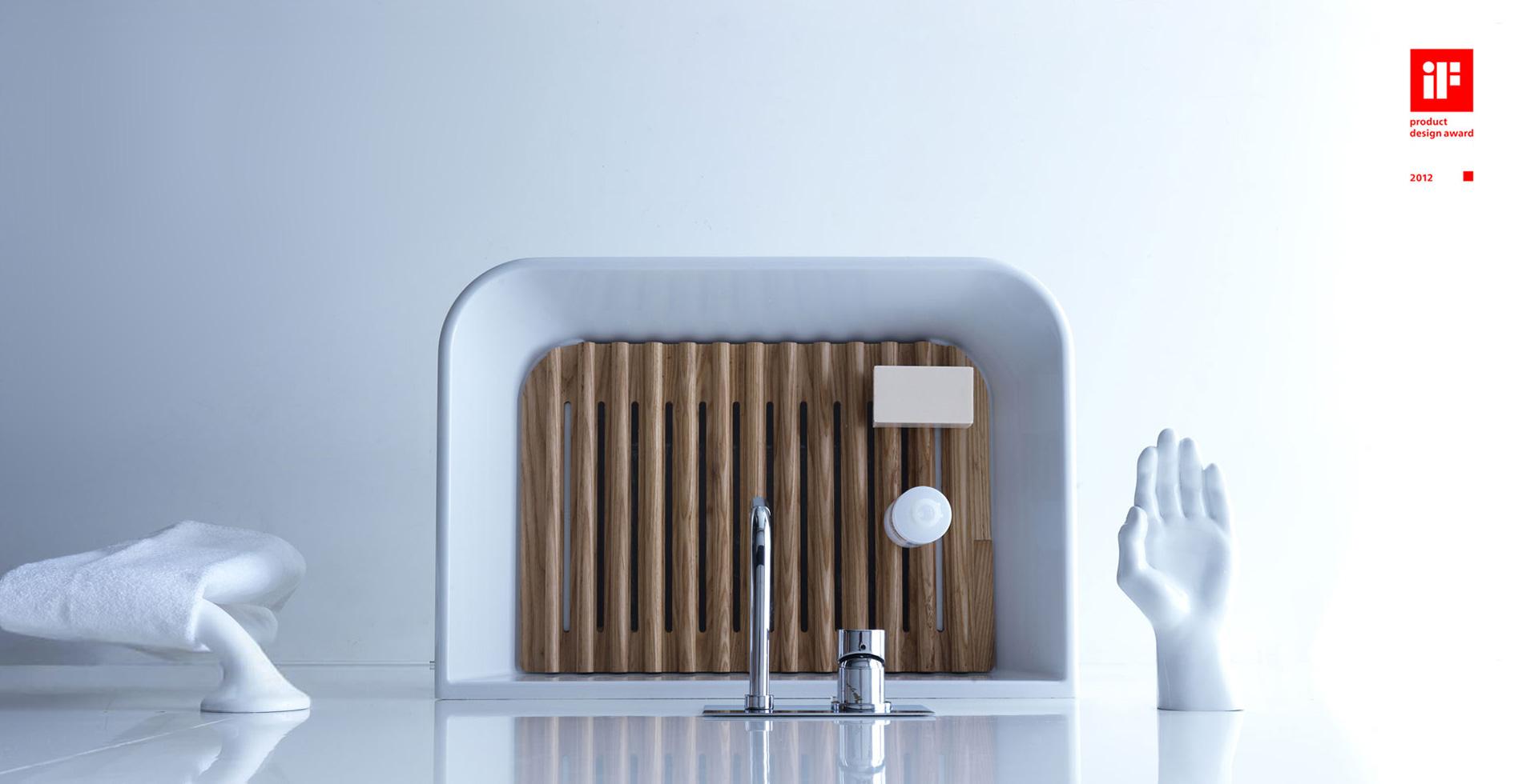 Bathroom deco - MEG11 - washbasin washboard of ash wood | IF Product Design Award 2012| Design by Antonio Pascale for Galassia