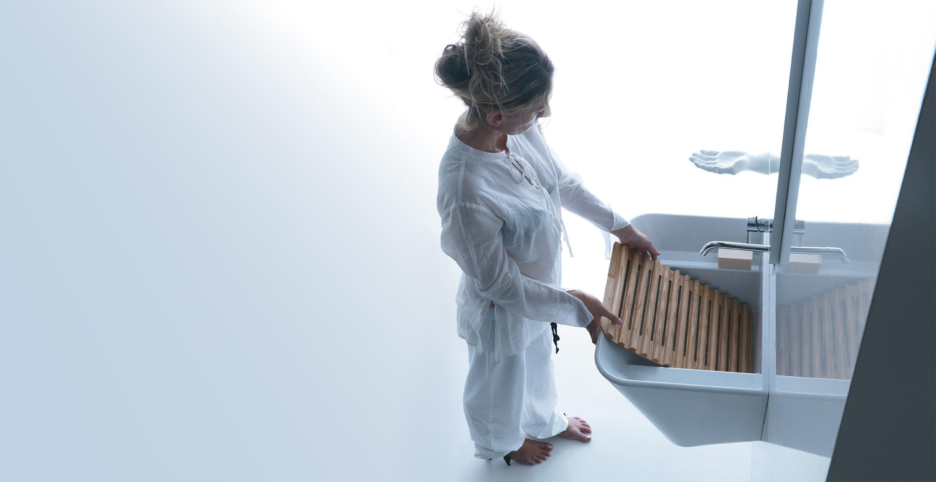 Complemento d'arredo bagno - MEG11 - Lavabo lavatoio in legno di frassino | IF Product Design Award 2012| Design by Antonio Pascale per Galassia